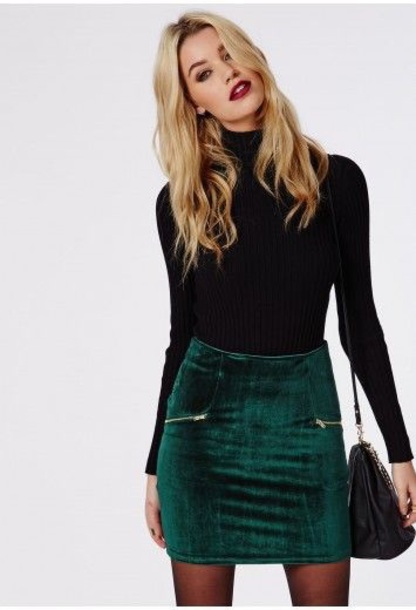 skirt sweater green velvet new year's eve