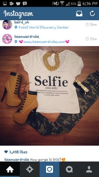 shirt selfie crop tops sunglasses jeans jewels shoes