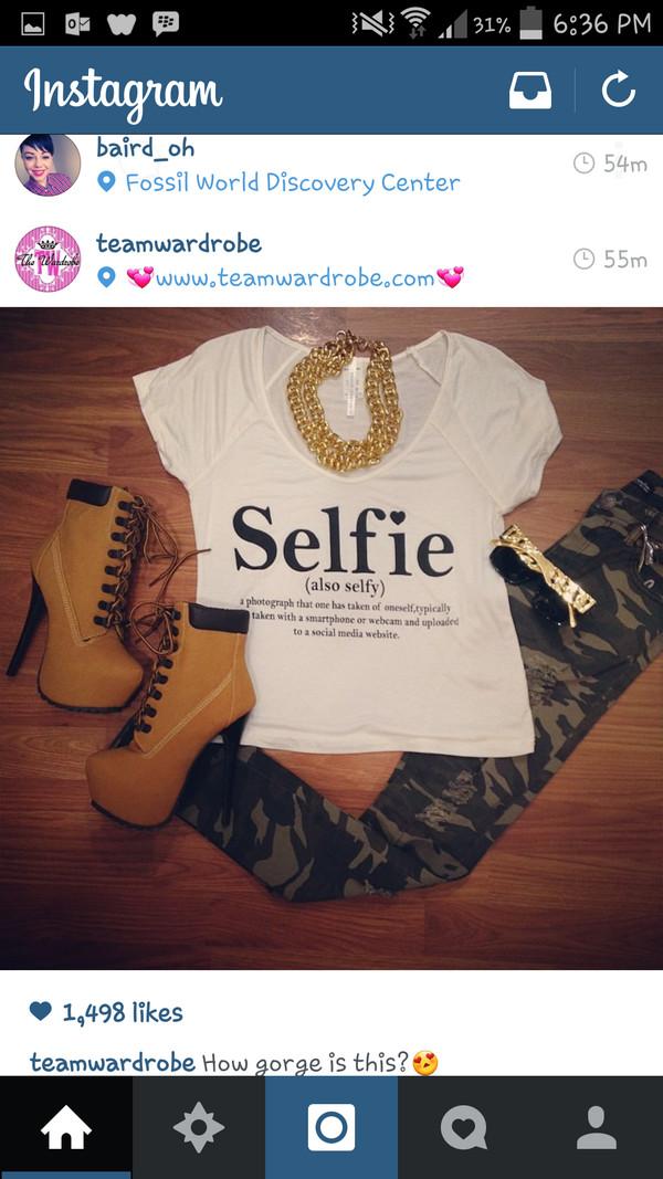shirt selfie crop tops crop tops sunglasses jeans jewels shoes