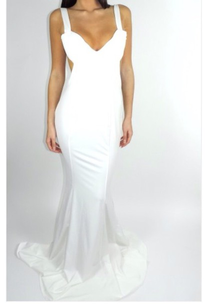 dress, prom dress, sleek, long dress, white dress - Wheretoget