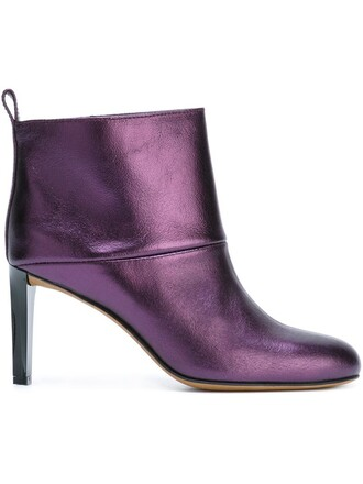 metallic boots ankle boots purple pink shoes