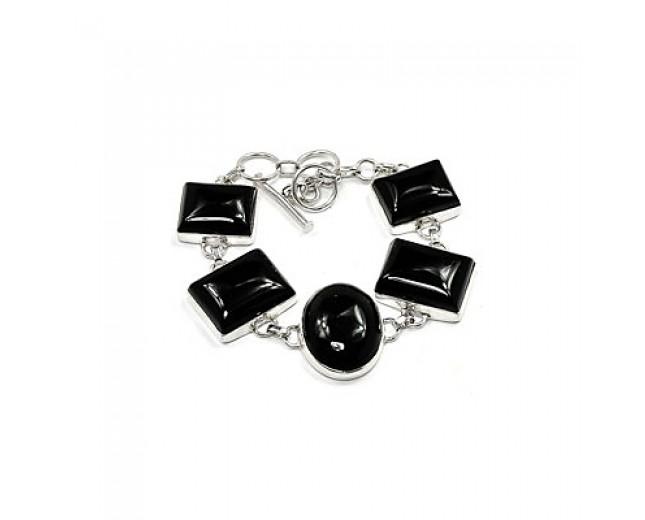 Genuine 925 Sterling Silver Black Onyx Bracelet