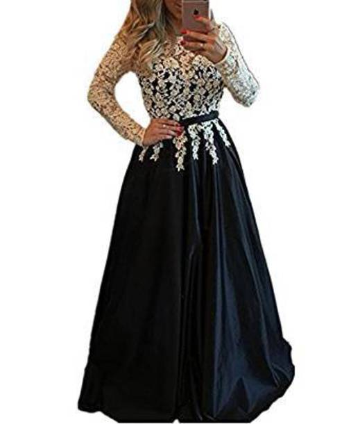 dress blue prom dress lace dress ball gown dress long dress formal dress long sleeves dark blue white lace dress