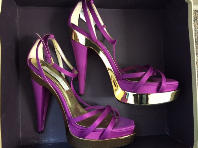 Stella McCartney Purple and Gold Strappy Heels Size 9 | eBay