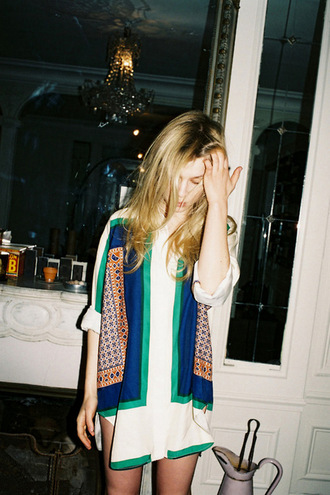 dress white white dress scarf print scarf dress shirt dress blond girl blue green orange print dress short dress