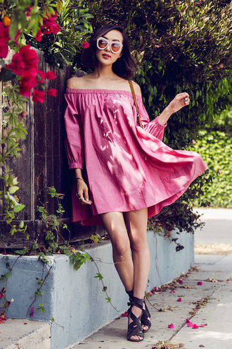 dress pink dress off the shoulder mini dress pink sunglasses lace up heels summer dress shoes