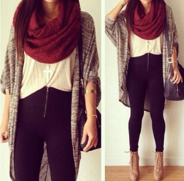 pants high waisted leggings scarf sweater shoes shirt jewels bag cardigan t-shirt knitted scarf its so cute blouse black leggings gold zipper tight boots heels fashion style jeans high waisted black jeans high waisted jeans