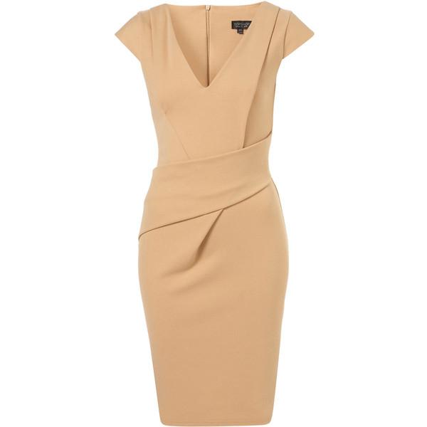 V Neck Ponte Pencil Dress Polyvore
