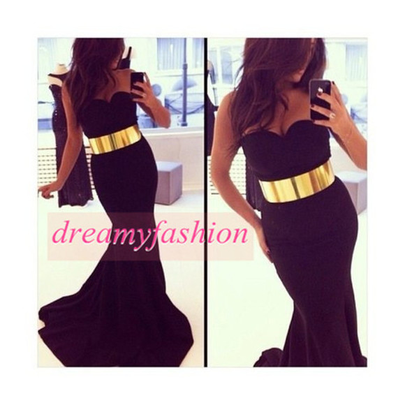 dress sexy dress evening dress mermaid prom dresses belted dress gold belt dress gown vestidos de fiesta