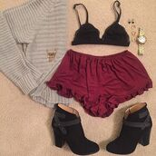shorts,divergence clothing,ruffle shorts,burgandy shorts,burgundy,burgandy ruffle shorts,velvet shorts,burgandy velvet shorts,black booties,ankle boots,sweater,grey sweater,knitted sweater,oversized sweater,black bra,black bralette,gold watch