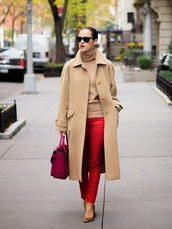 bittersweet colours,coat,sweater,bag,jeans,shoes,sunglasses,red jeans,red pants