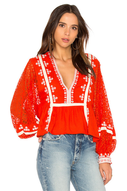 Free People blouse red top