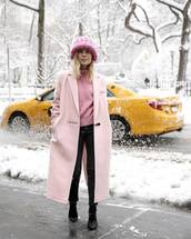 coat,tumblr,nyfw 2017,fashion week 2017,fashion week,streetstyle,pink coat,long coat,sweater,pink sweater,beanie,chunky knit,denim,jeans,black jeans,boots,black boots,winter outfits,winter look