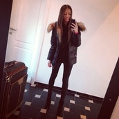 jacket,winter outfits,fur,black,girl,cool