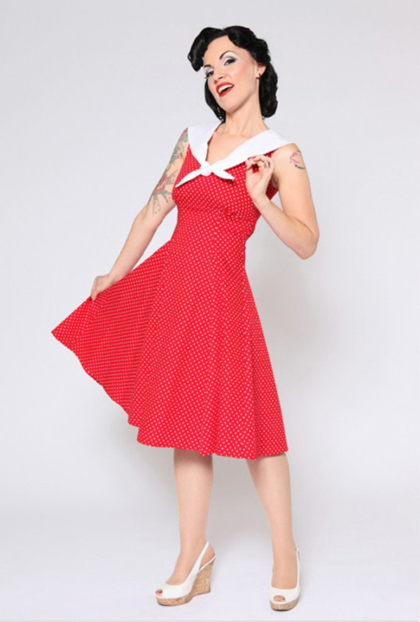 dress classic 50s style polka dat dress vintage
