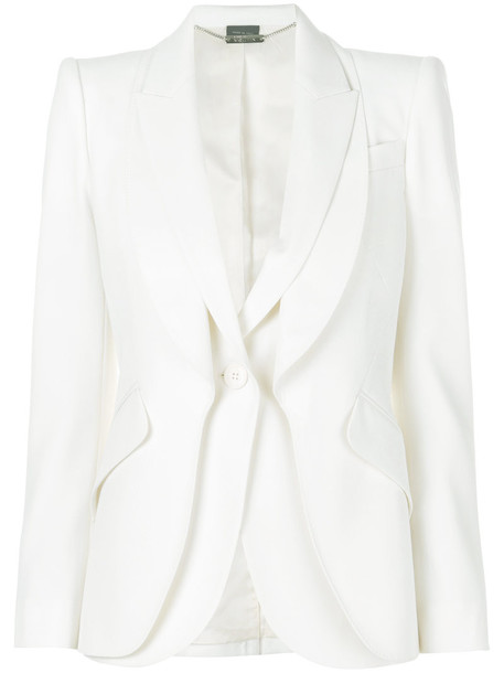Alexander Mcqueen blazer women layered white wool jacket