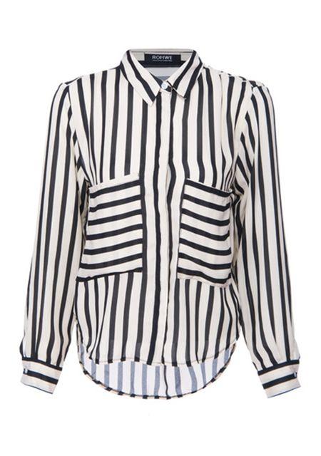 Women's slim stripe large size long shirts online