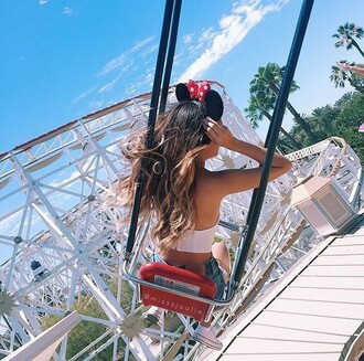 hair accessory top cute outfits summer summer outfits disney mickey mouse mickey mouse  ears crop tops white crop tops
