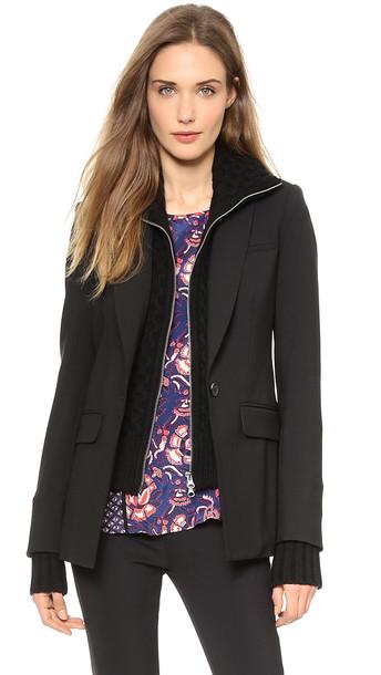 Veronica Beard Long & Lean Jacket With Black Upstitch - Black/Black