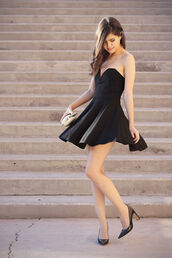 fake leather,dress,jacket,jewels,bag,shoes,little black dress,black,sleveless,pretty,girly,girl,design,skater dress,cute dress,black dress,black heels