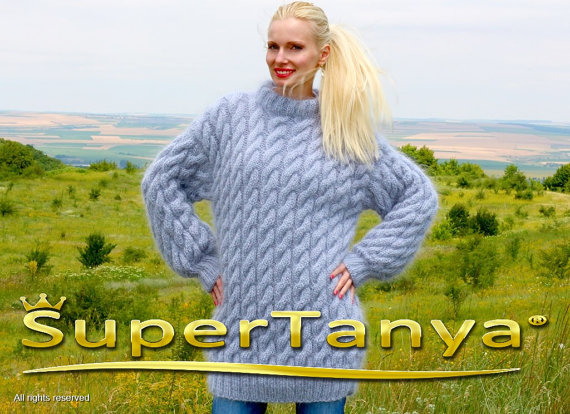 Extra thick hand knitted mohair sweater in gray with by supertanya
