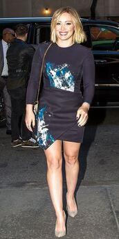 dress,mini dress,pumps,hilary duff,purse,fall outfits,fall dress,asymmetrical dress,bag