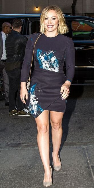 dress mini dress pumps hilary duff purse fall outfits fall dress asymmetrical dress bag