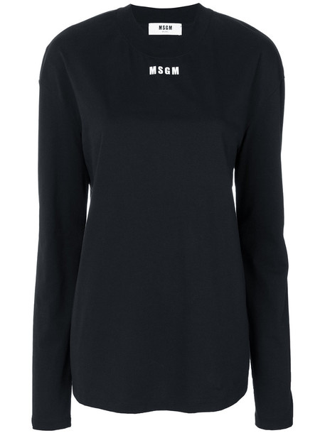 MSGM - mini logo sweatshirt - women - Cotton - XS, Black, Cotton
