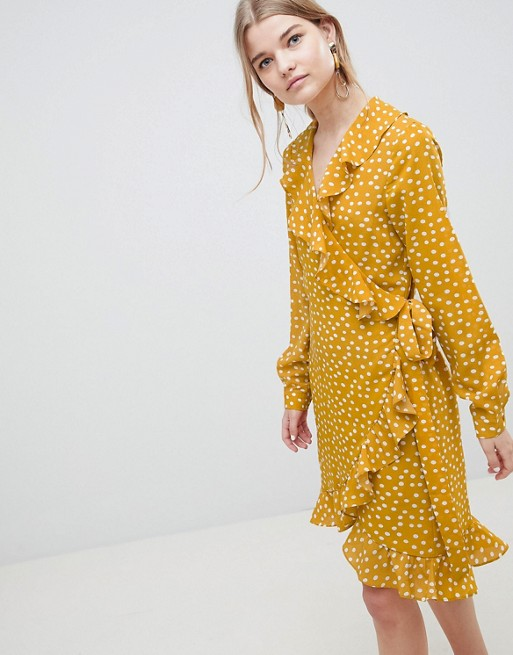 Selected Chanie Ruffle Polka Dot Wrap Dress at asos.com