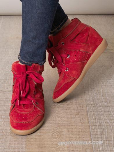 Trendy isabel marant bobby wedge sneaker red 2012 on sale