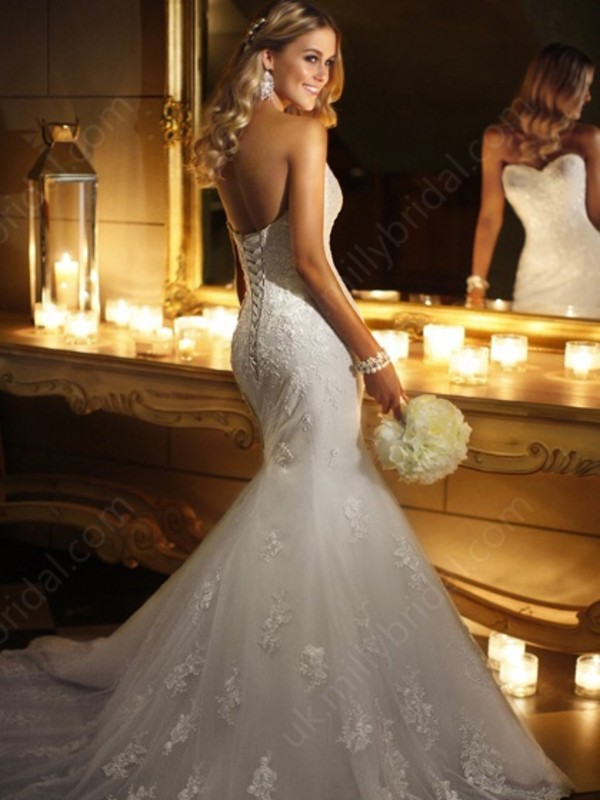 dress mermaid wedding dress sweetheart lace ivory beading