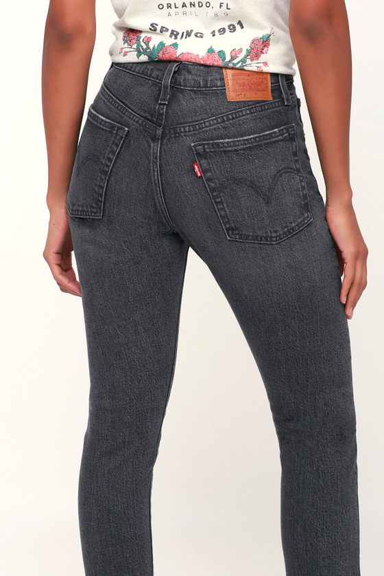 501 Skinny Washed Black High Rise Jeans