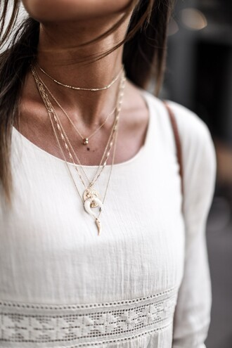 jewels tumblr jewelry necklace stacked jewelry gold necklace crescent pendant horn necklace