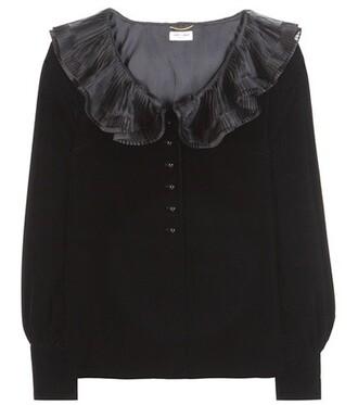 blouse velvet black top
