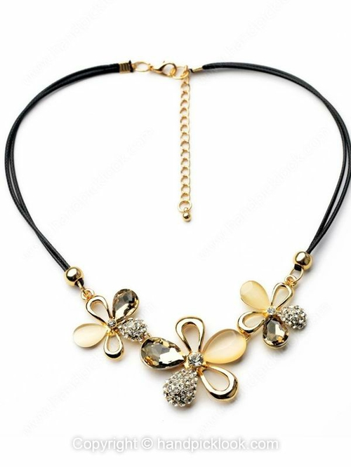 Gold Gemstone Flower Rope Necklace - HandpickLook.com
