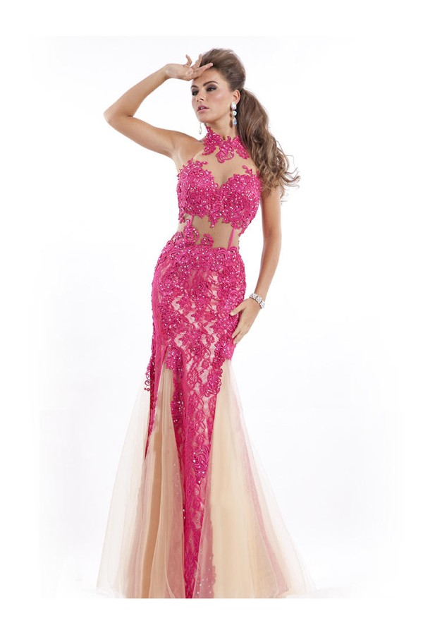 Sexy Trumpet/Mermaid High Neck Sleeveless Tulle Prom Dresses With Lace