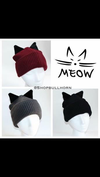 hat beanie black beanie cute beanies hats and beanies black black hat cat  ears cats 40efcd9e8d3