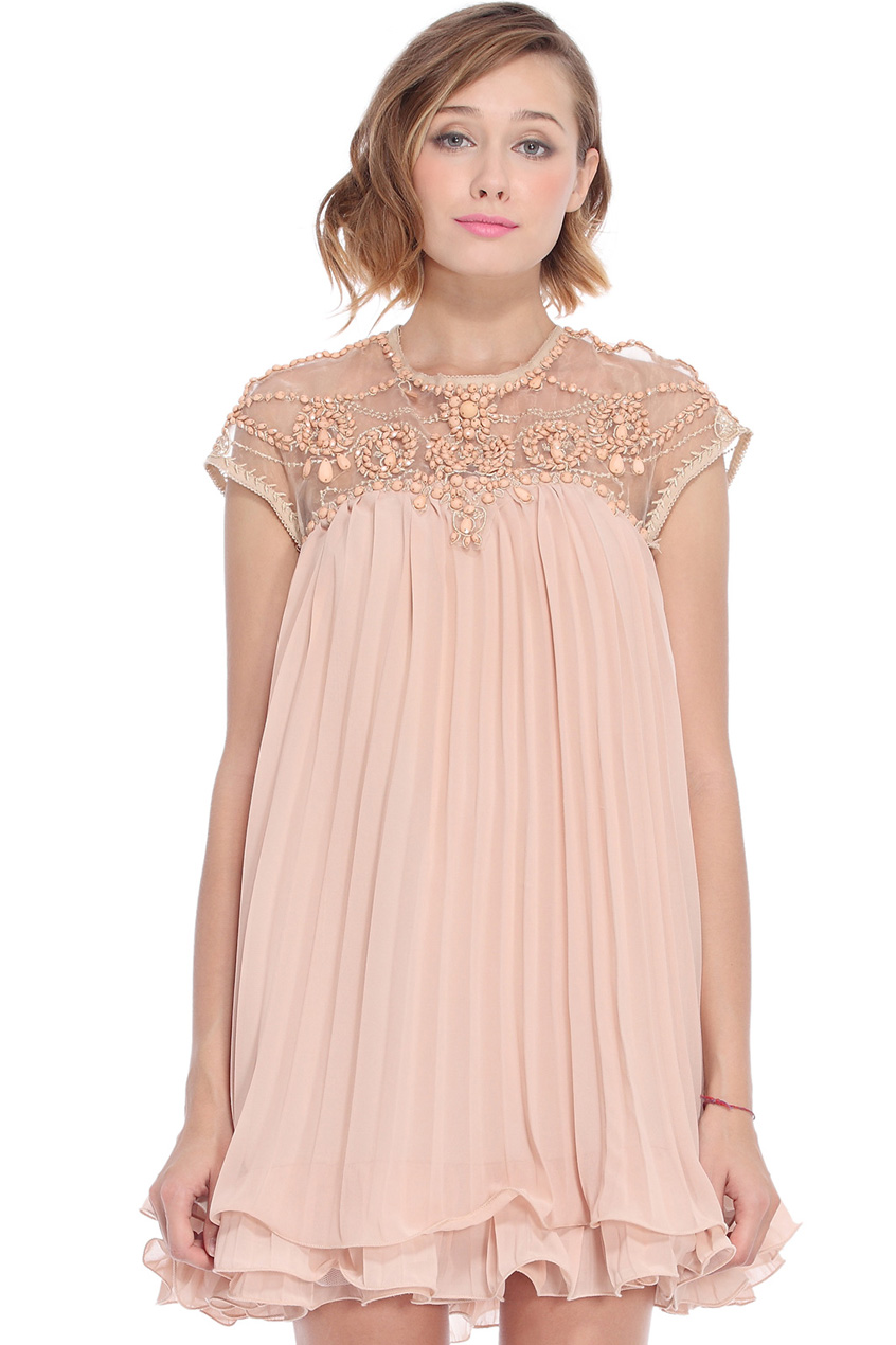 ROMWE | ROMWE Beaded Pleated Layered Apricot Smock Dress, The Latest Street Fashion