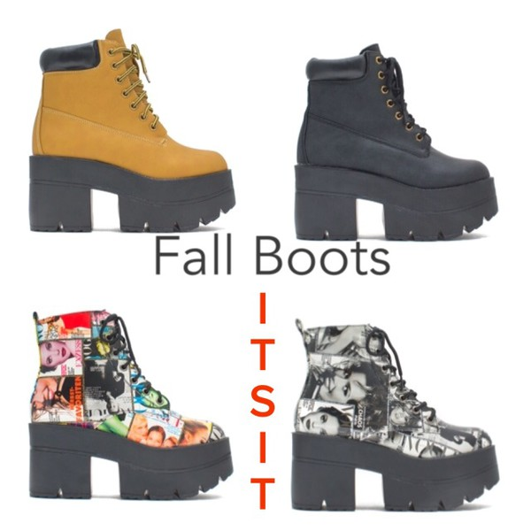 shoes boots booties magazine print timberlands platform shoes black chunky heels chunky shoes fashion fall outfits fall 2014