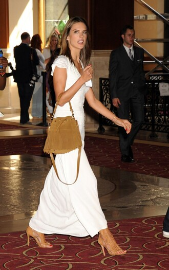 dress maxi dress alessandra ambrosio summer dress sandals suede bag