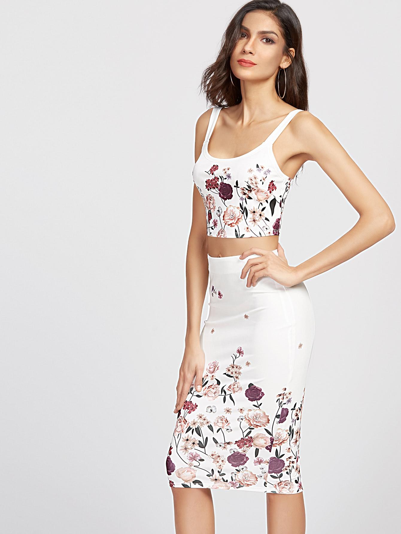 c269fec100 Flower Print Crop Tank Top And Pencil Skirt Set -SheIn(Sheinside)