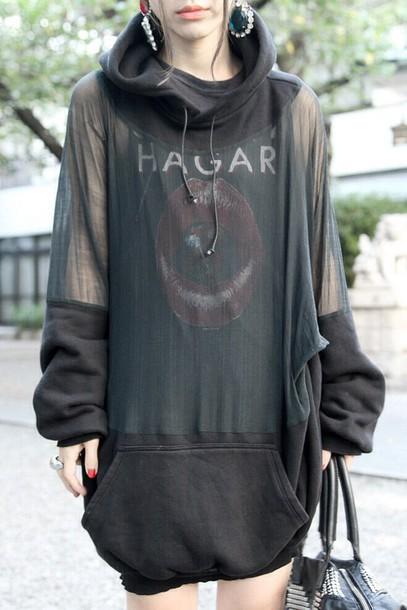 Top transparent clothes hoodie transparent transparent hoodie long hoodie black hoodie ...