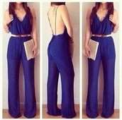 pants,jumpsuit,sheer,pink,jumper,sheer pants,dark blue,classy,night,sun,summer outfits,bag,belt,blue jumpsuit,omg i need this,omg girlz,omg so cute,beautiful,bahja,romper,royal blue,royal blue romper