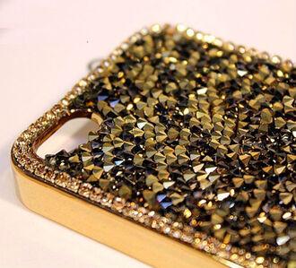 phone cover case cover phoe phone phone case rhinestone gold golden yello yellow rhinestones