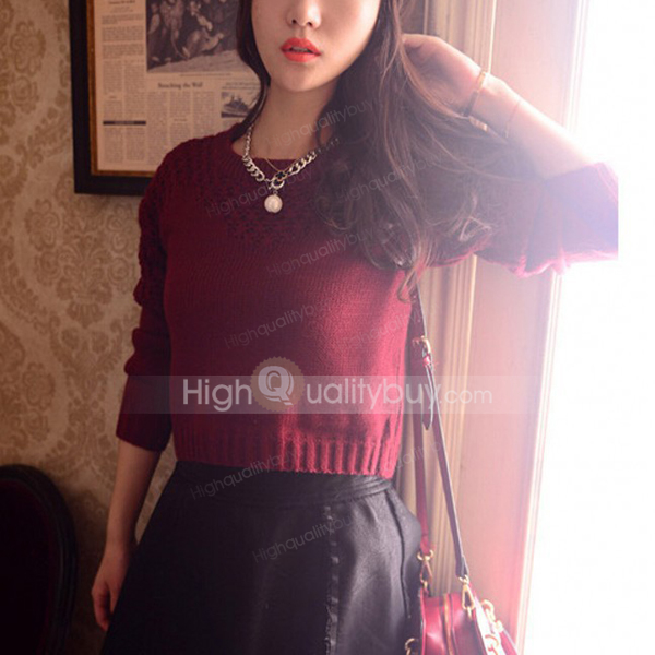 Stylish openwork solid color short sweater for women_17.14