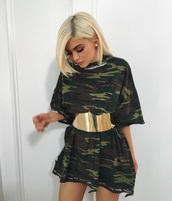 dress,kylie jenner belt,kylie jenner,kylie jenner dress,instagram,camouflage,oversized t-shirt,oversized,belt