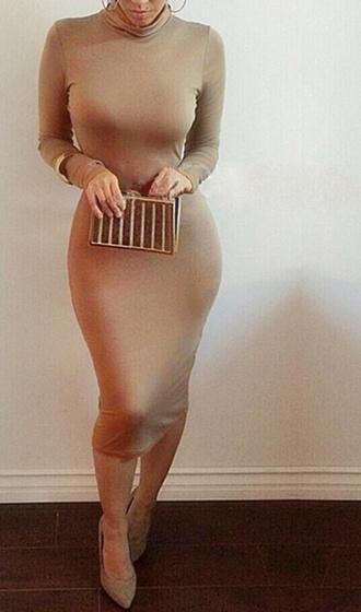 dress beige dress sexy midi dress bodycon dress fashion style