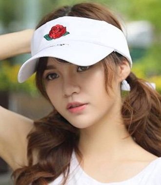 hat embroidered girly white rose red visor hats visor hat visor cap