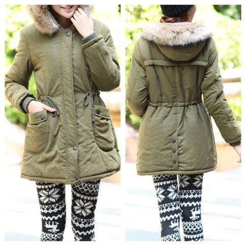Army green fur hooded parka coat jacket