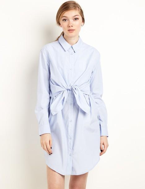 6fc58443517 dress light blue wrap tie shirt dress shirt dress cute dress pixiemarket  korean fashion summer dress